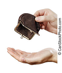 No Money - Man holding an empty change coin purse.