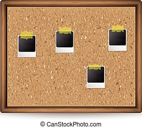 A cork board with photos