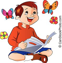 Boy Reading a Book, illustration - Boy Reading a Book About...