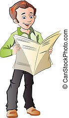 Young Man Reading a Newspaper, illustration - Young Man...
