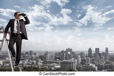 Businessman with binoculars. - Businessman with binoculars...