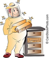 Beekeeper, illustration - Beekeeper, vector illustration