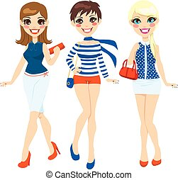 Summer Fashion Women - Three beautiful women dressed in...