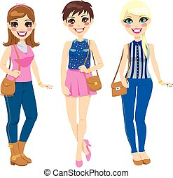 Beautiful Fashionable Girls - Three pretty girls in spring...