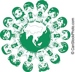 Green Love Earth - Children holding hands around the world...