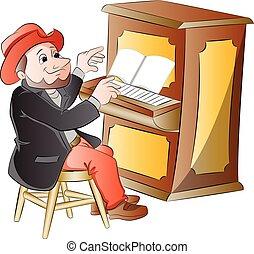 人, 玩, 插圖, 鋼琴