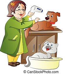 Veterinarian, illustration - Veterinarian Taking Care of a...