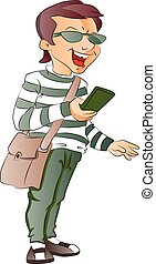 Person Holding a Cellphone, illustration