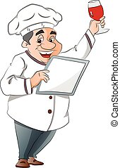 Chef Holding a Menu and Glass of Wine, illustration