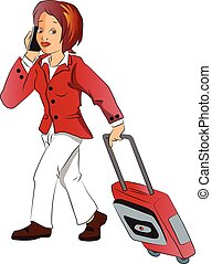 Vector of businesswoman talking on phone while pulling...