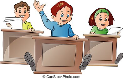 Kids in School, illustration - Kids in School, vector...