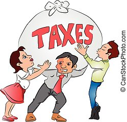 Vector of businessmen and businesswoman holding a heavy sack of tax.