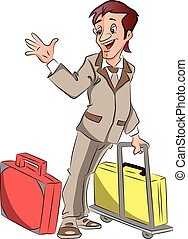 Vector of businessman with luggage waving goodbye.