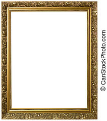 Golden Picture Frame Cutout - Antique Golden Frame Isolated...