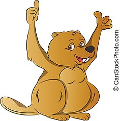 Beaver with Two Thumbs Up, illustration