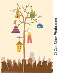 Bird little town - Multicolored transparent town hanging...