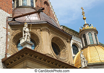 Wawel Cathedral in Krakow - Statue of Polish king at Wawel...