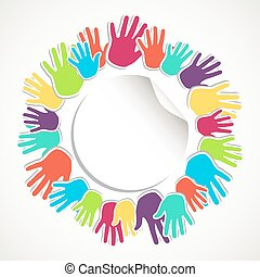 Colorful human hand circle - People hands connected icon...