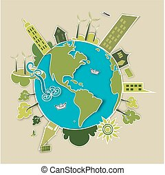 Green world concept - Go green world. Industry sustainable...
