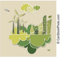 Go green city concept - Ecology town, industry sustainable...