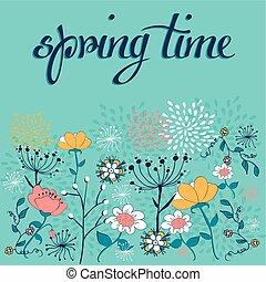 Spring time flower background - Vintage spring flowers...