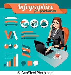 Business nfographics Set of infographics elements and beauty...
