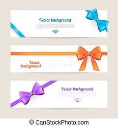 Set of card with gift bows