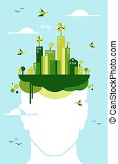 Green city people idea - Think green concept. People head...