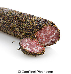 Pepper Salami - Black Pepper Hard Salami,Close Up