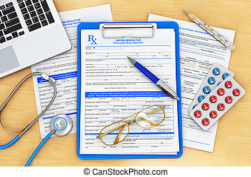 Doctor paperwork, medical healthcare and insurance concept:...