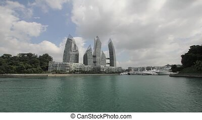 Singapore Marina Waterfront Condominiums with Moving Clouds...
