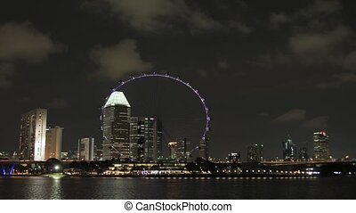 Singapore City at Night Time Lapse - Singapore City Skyline...