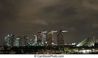 Singapore City Skyline at Night - Singapore Downtown City...