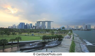 Sunset in Singapore Timelapse 1080p - Sunset at Marina...