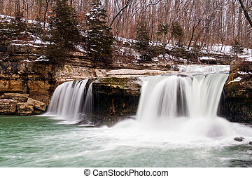 Indianas Upper Cataract Falls photographed with a snow...