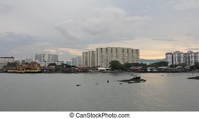 Tan Jetty Heritage Site in Penang Sunset with Apartment...