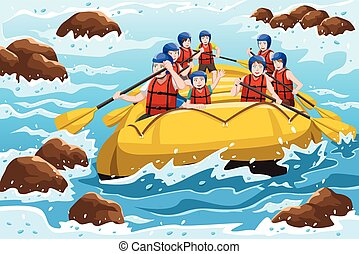 people rafting - A vector illustration of a group of happy...