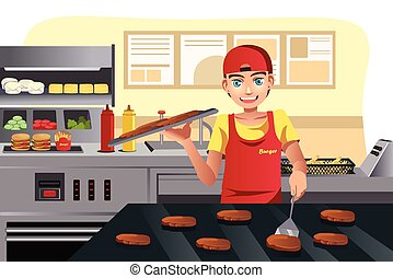 Cooking at fast food - A vector illustration of a cook...