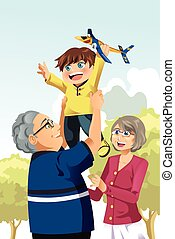 Grandparents and grandson playing - A vector illustration of...