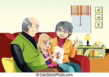 Grandparents and grandaughter reading - A vector...