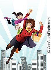 Super mom - A vector illustration of superhero mom concept