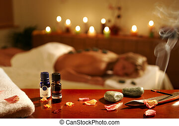 Romantic spa procedure in hotel