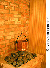 Sauna with caldron on coals