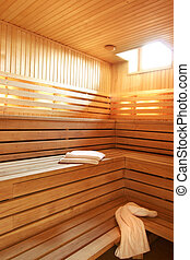 Wooden steam room sauna in hotel