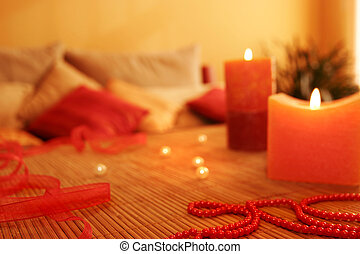 Beautiful design with candles in room