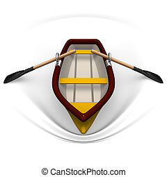 Row boat Front View. 3D render illustration. Isolated on...