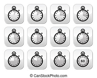 Time, clock, stopwatch buttons - Timer measuring different...