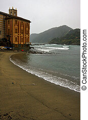 church sestri - boat water house and coastline in sestri...