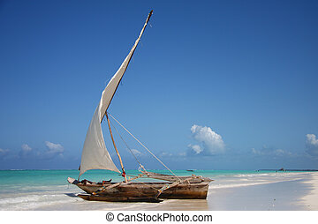 Sailing boat in a lagoon at ocean