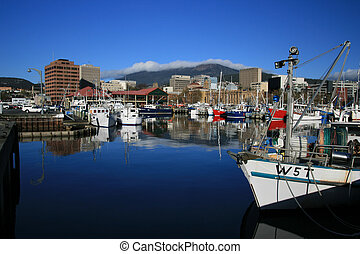 Hobart Waterfront - Boats moored in Hobart Harbour early in...